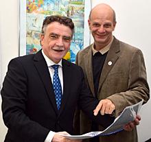 Stefan Zimkeit, Landtagsabgeordneter für Oberhausen-Sterkrade und Dinslaken, mit NRW-Bau- und Verkehrsminister Michael Groschek