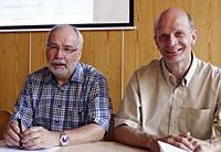 Die beiden Oberhausener Landtagsbageordneten Wolfgang Große Brömer und Stefan Zimkeit