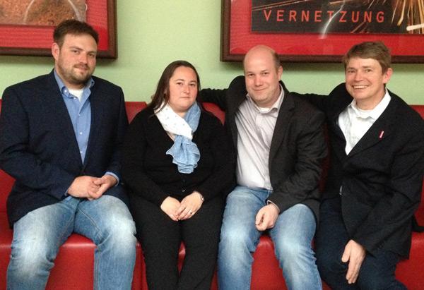 Von links: Frederick Cordes (OV Sterkrade-Süd), Sonja Bongers (OV Oberhausen-West), Thomas Krey (OV Osterfeld), Jörg Bischoff (OV Osterfeld)